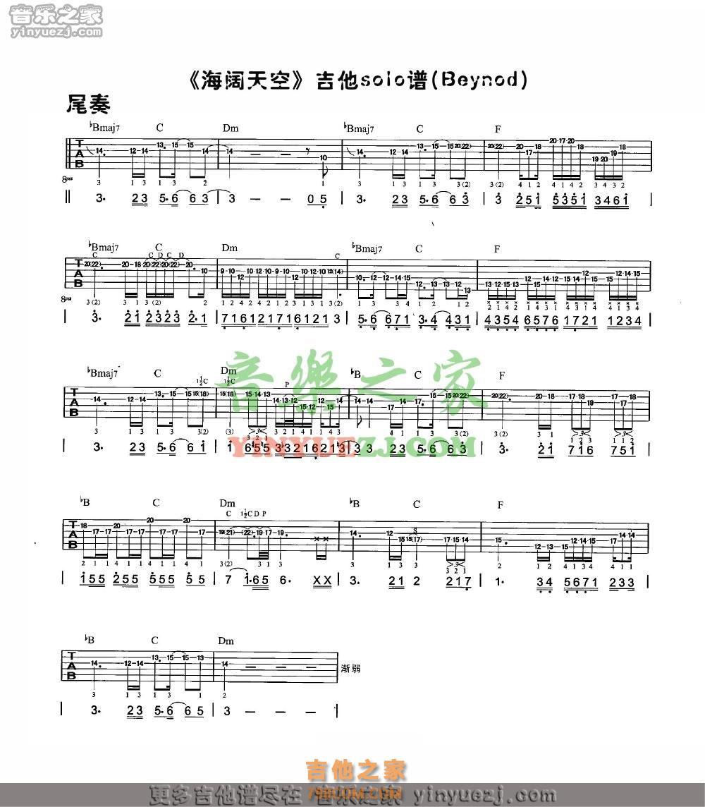 海阔天空文本吉他谱_Beyond《海阔天空》solo吉他谱 - 吉他solo谱 - 吉他之家