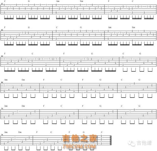 C调卡农吉他谱简单版